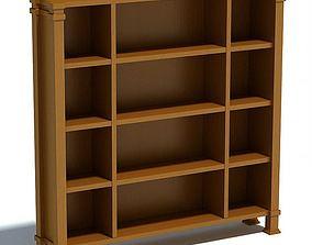 3D Wooden Oak Bookshelf