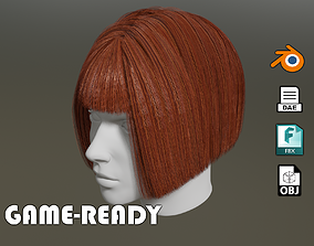 Game ready - female 3d classic bob hair realtime