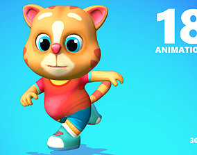 Cat Low poly Animated Rigged 3D asset
