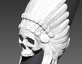 3D printable model Detailed Indian Skull Chief Ring