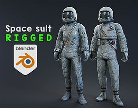 Male and female Space suit rigged 3D asset