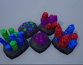 Lowpoly Gemstone-Crystal-Ore Mining Rocks 3D model