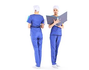 3D model low-poly Surgical nurse 09
