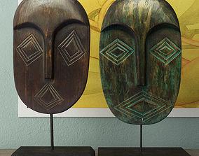 Albesia Wood Mask Decoration 3D model