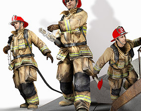 3D asset Firefighters with typical poses