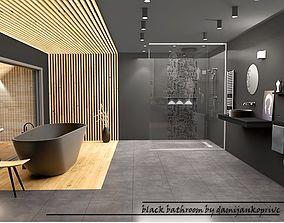 3D asset black bathroom design