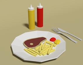 3D asset Low Poly Cartoon Steak Meal