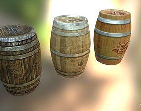 Set of 3 low poly barrels 3D asset