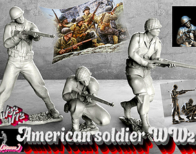 3D print model American soldier WW2 set1