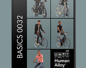 low-poly set of 3D men on bicycles or motor cycle 2