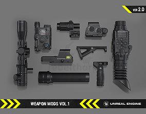 3D model Weapon Mods Vol 1 - FPS Gun Attachments for 1