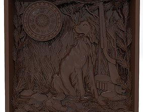 The hunting time Bas relief 3D printable model