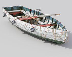 wooden old fishing boat 3D