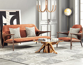 3D Modern Luxury Living Room Interior 291 walnut