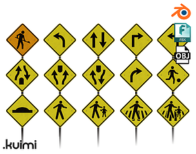 3D model low-poly Road Sign Pack - 001