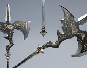 Fantasy Halberd Axe Polearm 3D model
