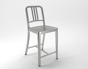 navy counter stool 3D model scandinavian
