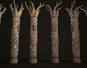 Totem wood 7 pbr 4k 3D asset