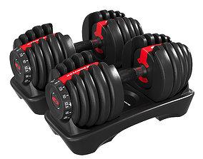 3D asset Bowflex Dumbbells