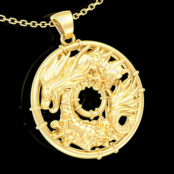 Ring Dragon Pendant jewelry Gold 3D print model
