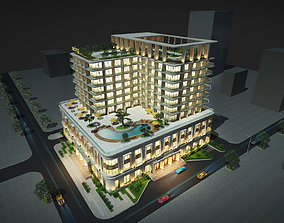 Contemporary hotel 3D model
