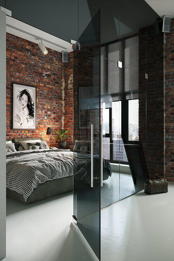 Loft style bedroom