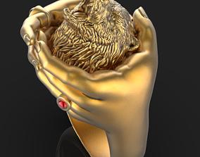 3D printable model bear hand ring