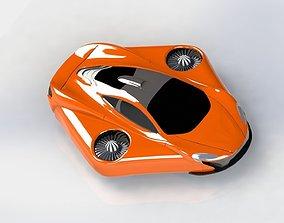 McLaren Turbo Flying Concept Car 3D Model animated