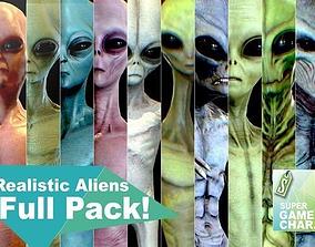 Realistic Aliens Full Pack 3D asset