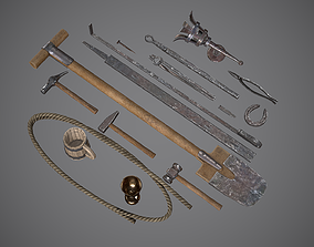 3D asset Medieval Tools Set