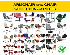 3D CHAIR and ARMCHAIR Collection 22 pieces