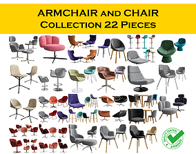 3D model CHAIR and ARMCHAIR Collection 22 pieces