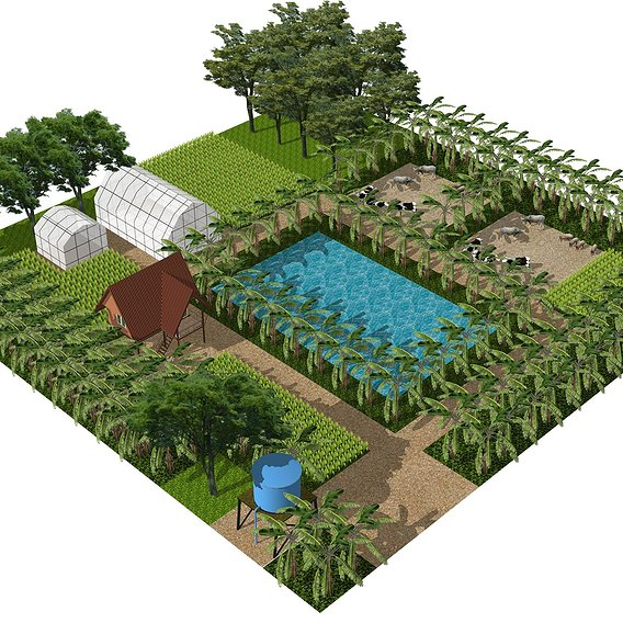 Tropical farm in modular unit