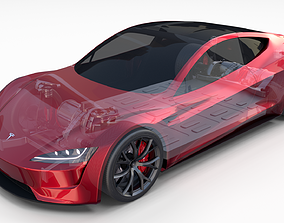 Tesla Roadster with Chassis 3D model elon