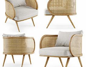 Wooden rattan lounge chair C20 3D model