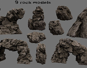 Rock Set rocks 3D asset game-ready