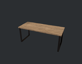 Beech Wood Modern Table with Black Legs 3D model