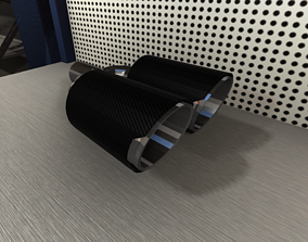 Dual Carbon Exhaust Pipe for Tuned Cars 3D model