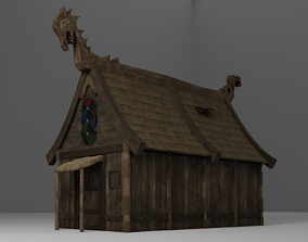 Viking House with Thatch Shack with interior 3D model 2