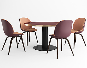 GUBI Beetle Dining Chair and GUBI Dining Table 3D model