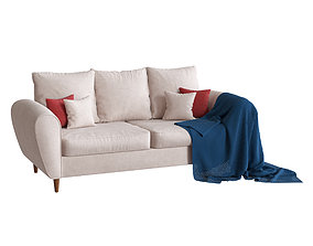 Beige three-seater sofa with a plaid 3D model