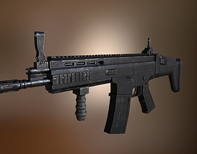 3D asset SCAR H assault rifle