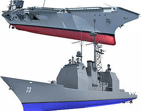 Set of 2 US Navy Ships 3D model