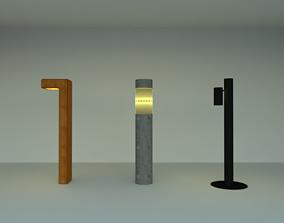 Garden Bollard Lights 3D asset