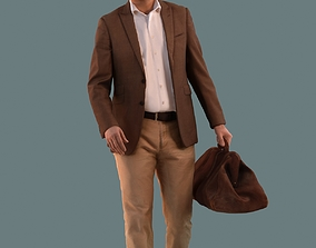 Low poly set of 3D men walking 3D model