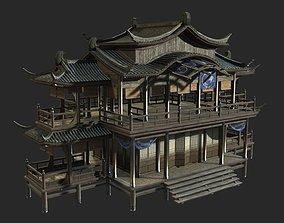 3D asset Urban house construction buildings in ancient