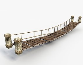 Low poly rope bridge 3D asset low-poly