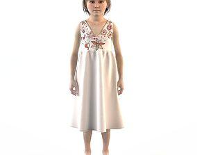 Girl dress t shirt skirt Baby clothes 3D model