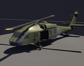 Black Hawk helicopter Lowpoly 3D model