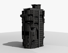 Sci-Fi Ruined Building 3D Model realtime